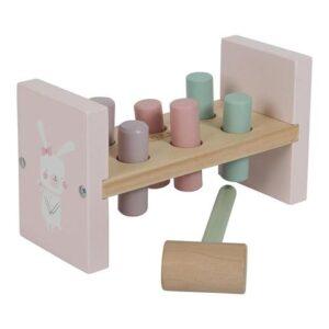 LITTLE DUTCH Ξύλινο παιχνίδι αντιστοίχισης με σφυρί Adventure Pink