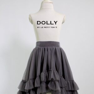 DOLLY BY LE PETIT TOM RUFFLED CHIFFON DANCE HIGH LOW TUTU DARK GREY